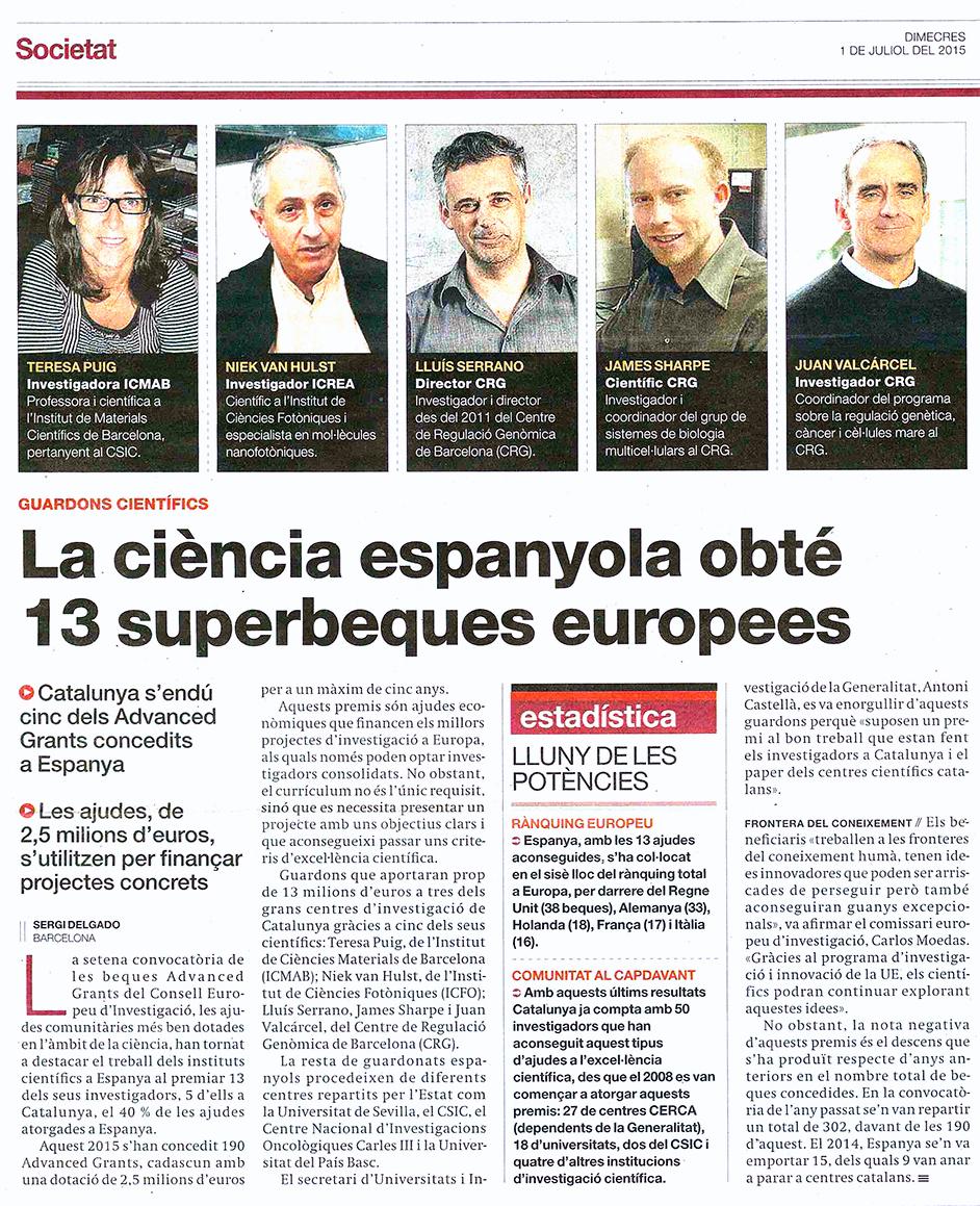 EL PERIÓDICO DE CATALUNYA, 1-JULIOL-2015