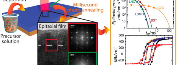 Ultrafast Epitaxial Growth Kinetics in Functional Oxide Thin Films Grown by Pulsed Laser Annealing of Chemical Solutions